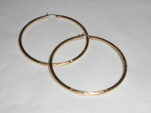 Large, etched gold hoops